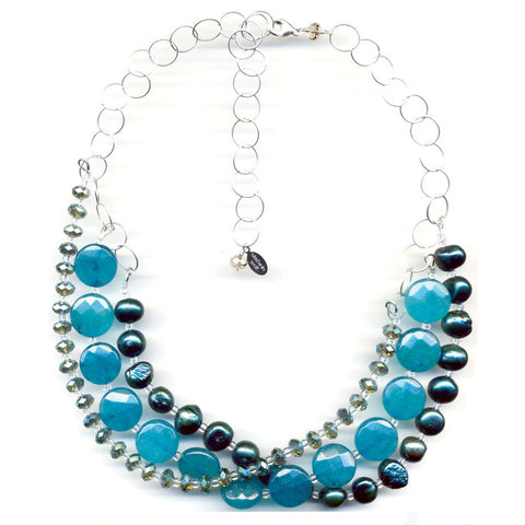 Peacock Blue Multistrand Necklace