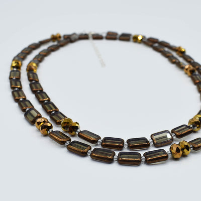 "Sparkle Crystal Wrap Necklace or Bracelet, Crystal-Trilogy, 44"", Black Diamond with Copper"