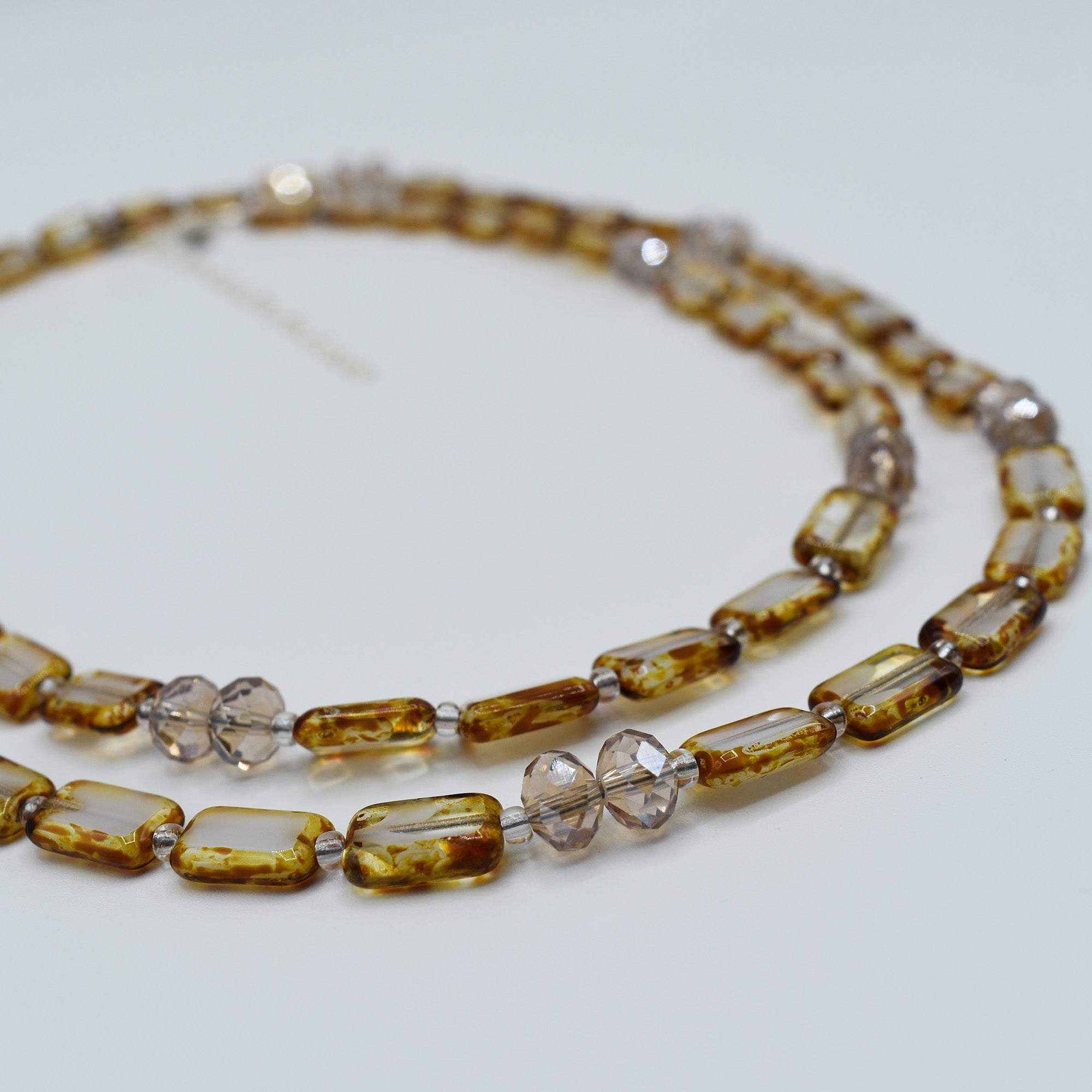 "Sparkle Crystal Wrap Necklace or Bracelet, 44"", White Swirl with Champagne"