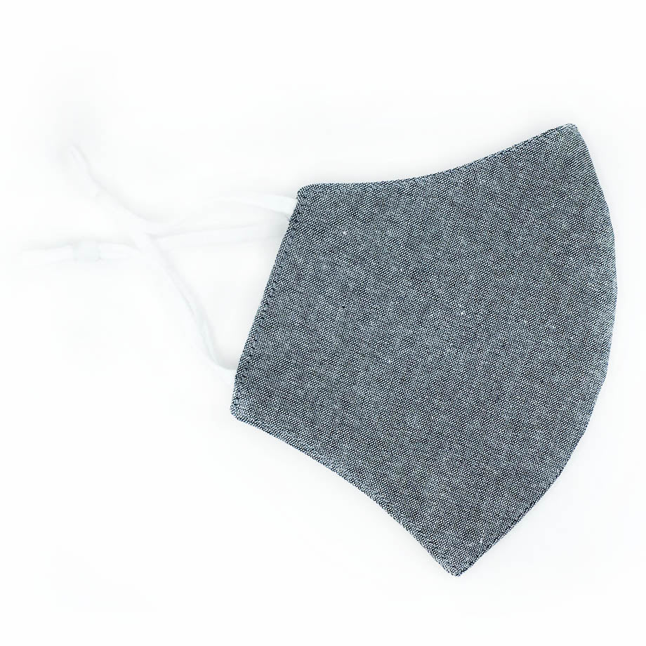 Cotton Face Mask, Adjustable FIt, Grey Solid, USA-Made