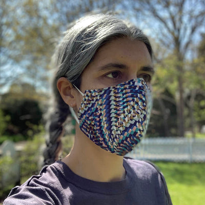 Cotton Face Mask, Blue kaleidoscope, USA-Made