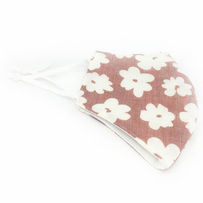 Cotton Face Mask, Adjustable Fit Pink Red Flowers, USA-Made