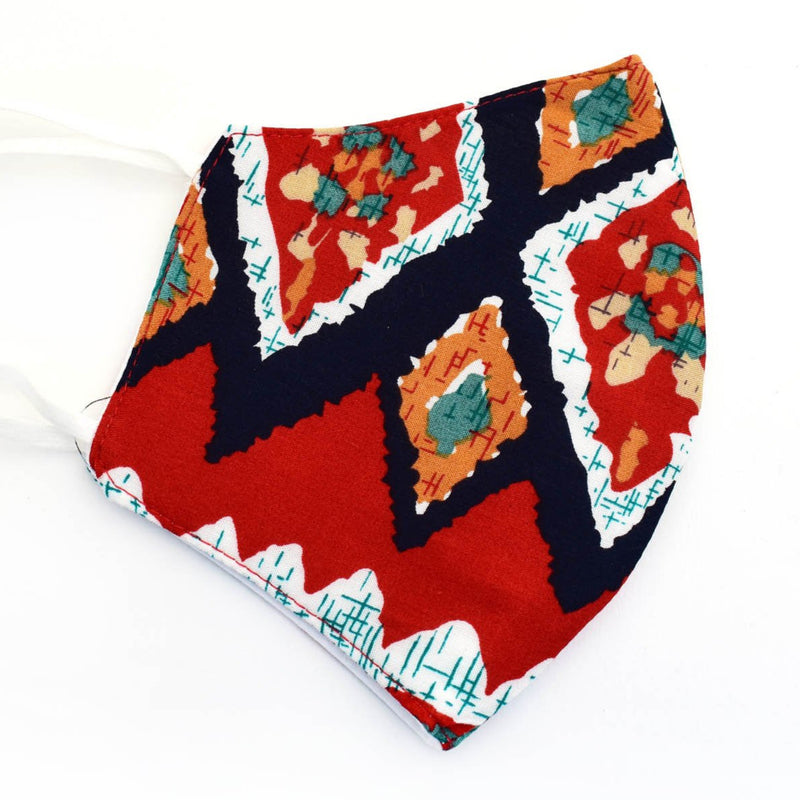 Cotton Face Mask, Adjustable Fit, Red and Blue Multi, USA-Made