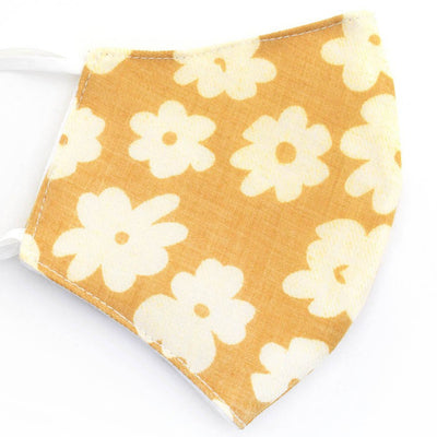 Cotton Face Mask, Adjustable Fit, Yellow Flowers, USA-Made