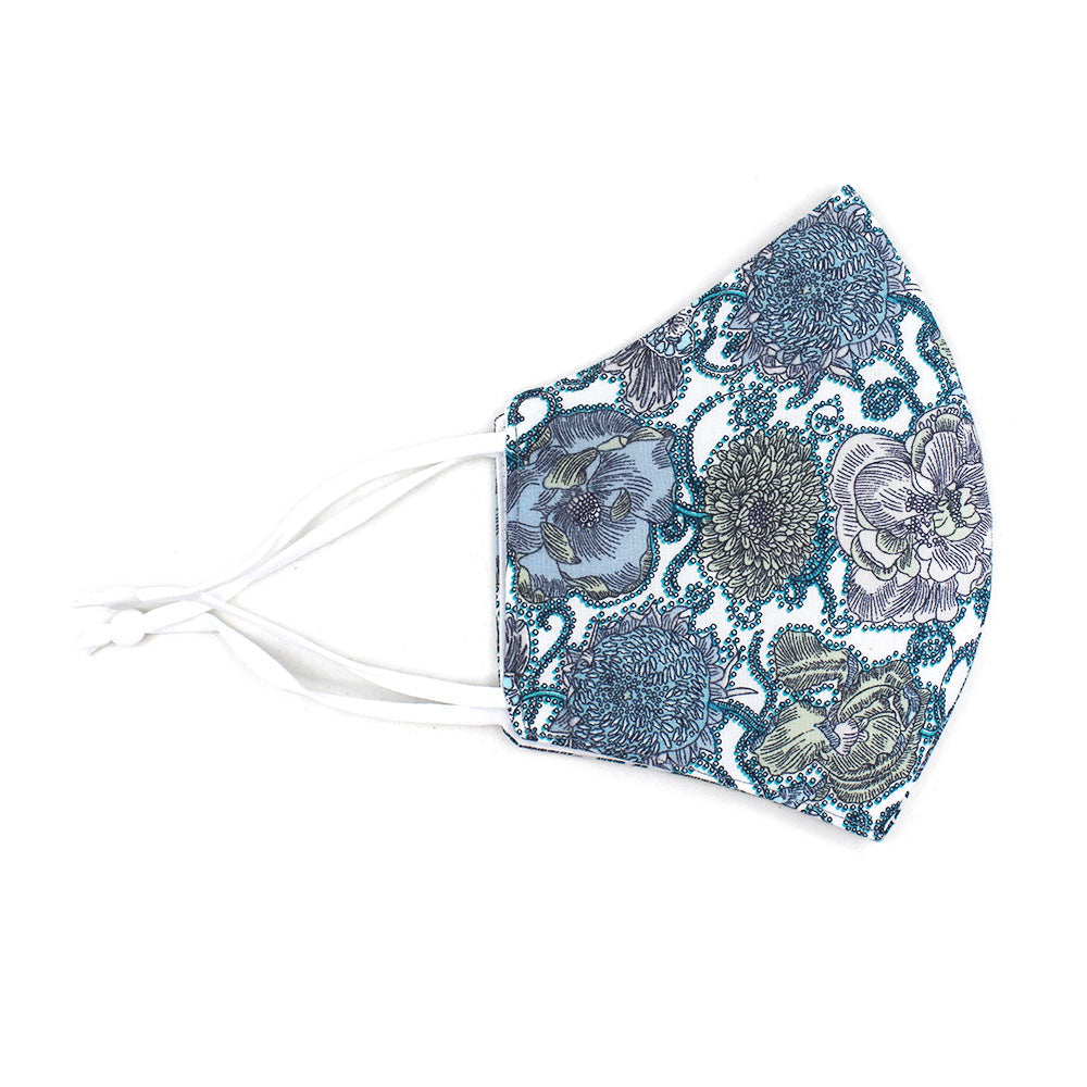 Adjustable Cotton Face Mask, Adjustable Fit Teal Floral, USA-Made