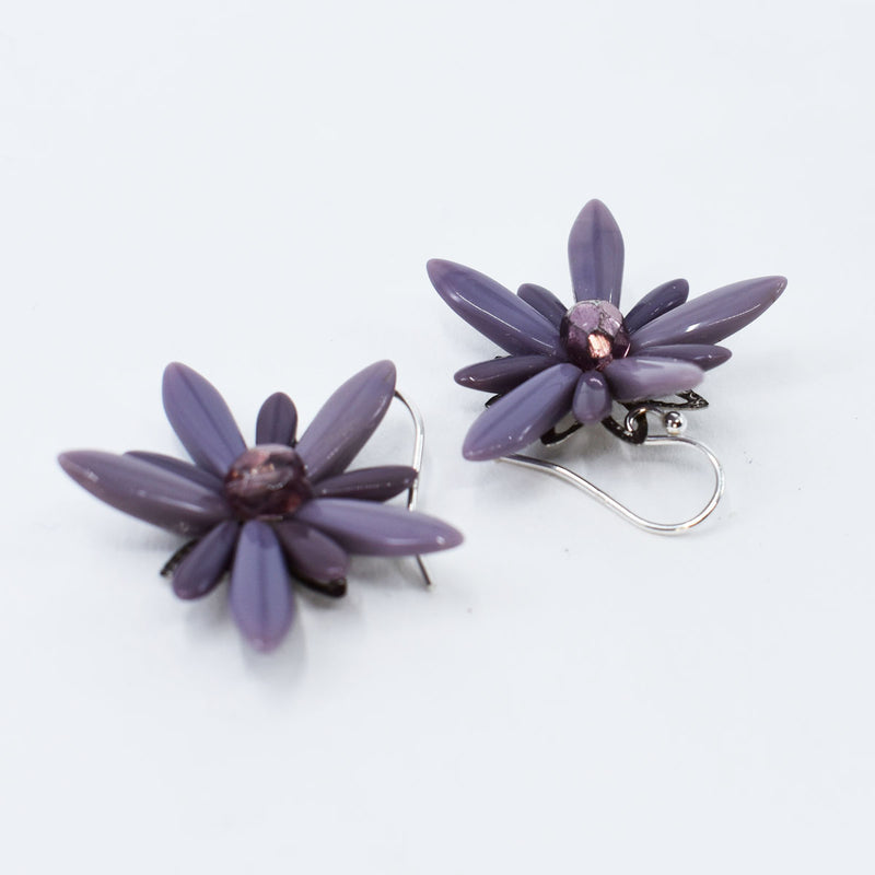 Purple Flower Drop Earrings on Sterling