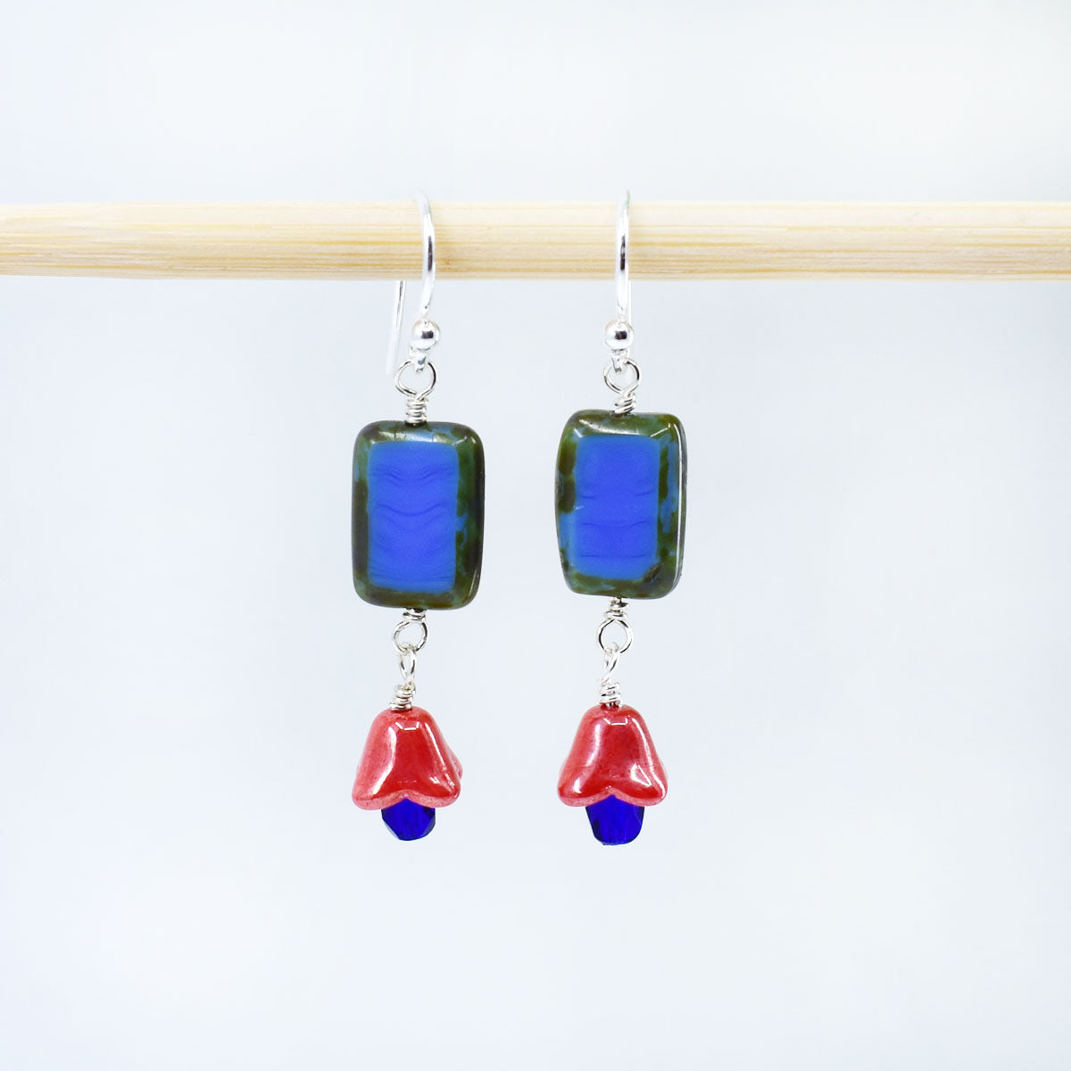 Tulip Dangle Earrings, Royal Blue and Coral, Limited Edition