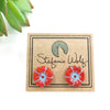 Stud Earrings, Coral and Blue Flower, Limited Edition