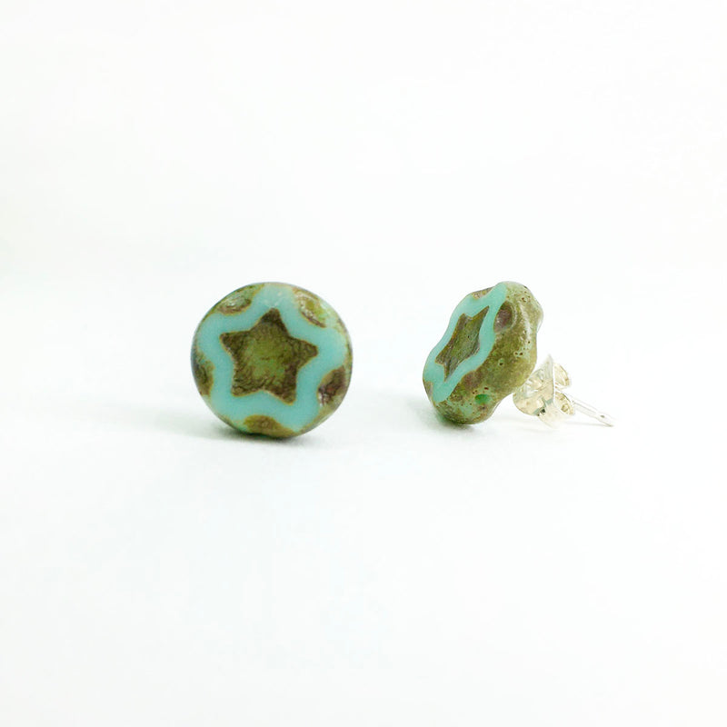 Stud Earrings, Sky Blue Flower, Limited Edition