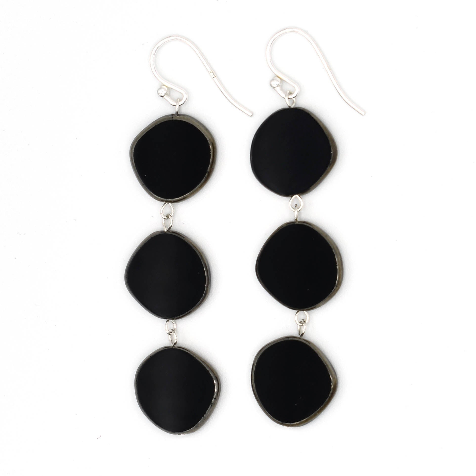Triple Circle Earrings (Red or Black)