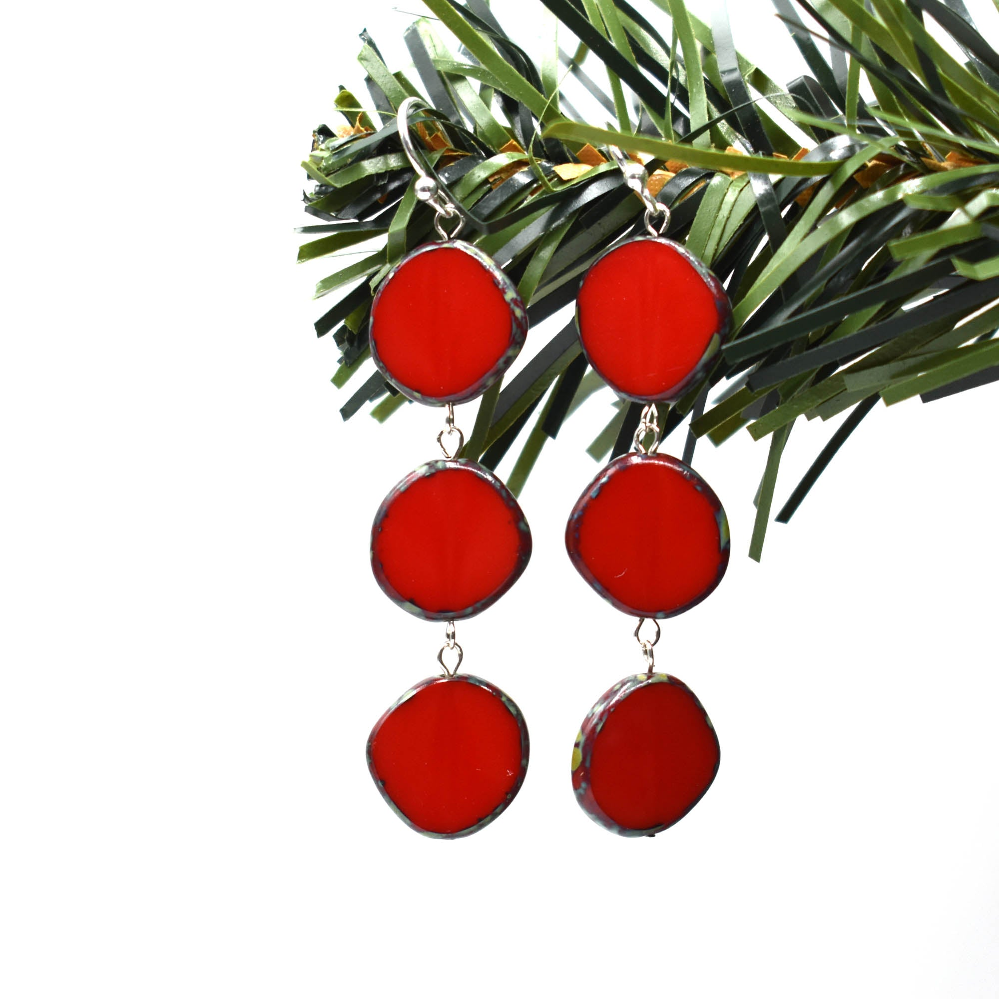Full Circle Triple Circle Earrings, Red, Black, Blue or Yellow