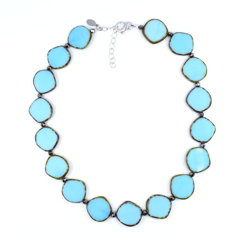 Large Circle Necklace, Sky Blue