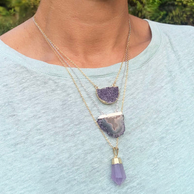 Crystal Geode Slice Half Moon Pendant Necklace, On Gold, Limited Edition