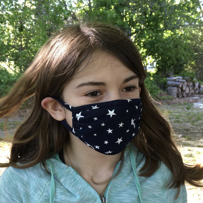 Kids Face Mask, Star Print, Navy