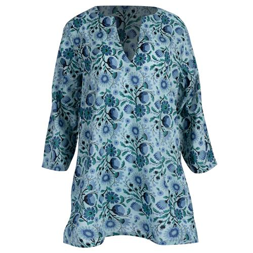 Tunic, Teal Floral Print