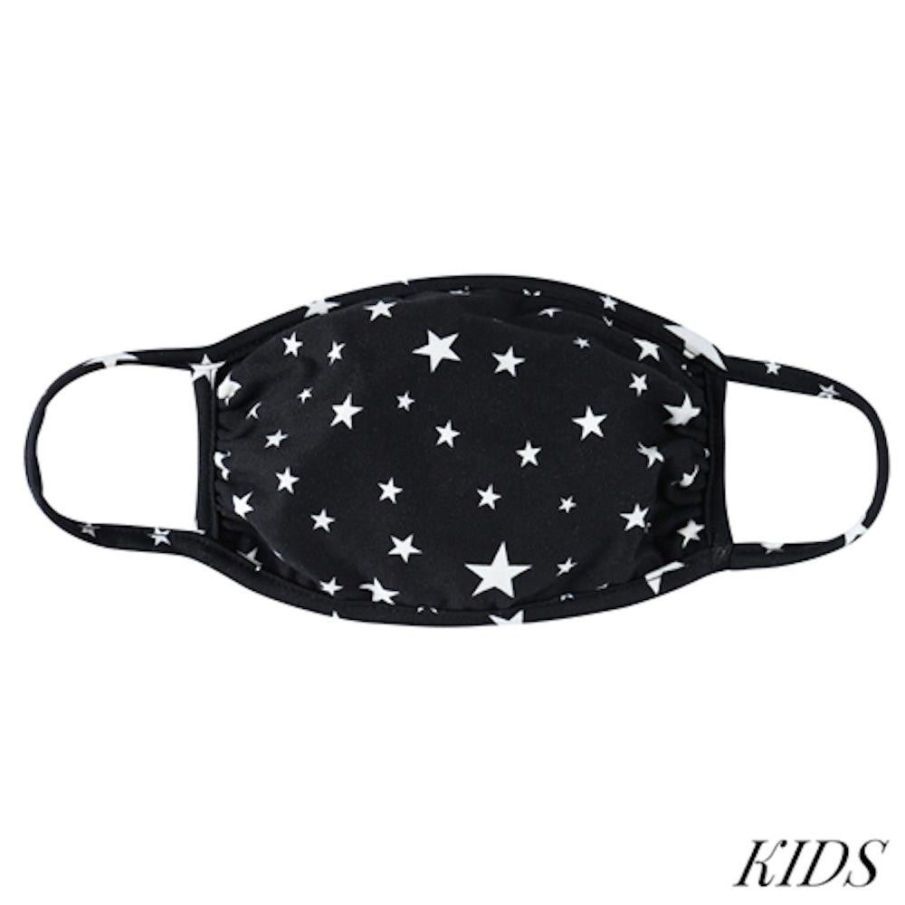 Kids Face Mask, Star Print, Black