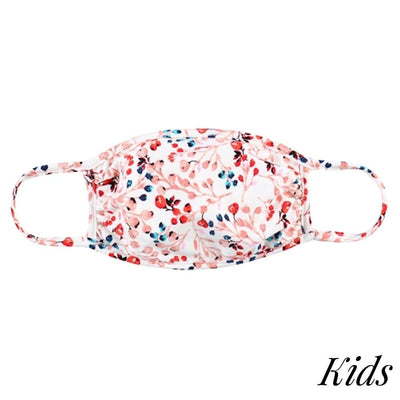 Set of 3 Kids Face Masks, Coral Flowers and Tie Dye