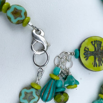 Tree of Life Necklace, Avocado and Blue, Limited Edition