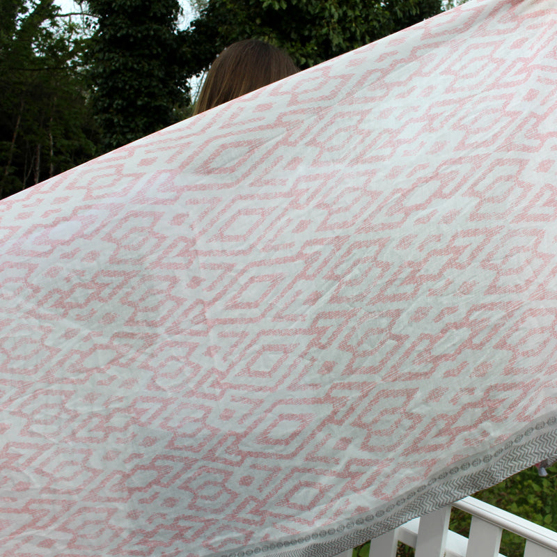 Pink and White Ikat Pattern Scarf with Pom Pom Edge