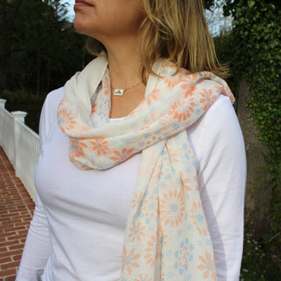 Pink and Blue Daisy Pattern Lightweight Summer Scarf