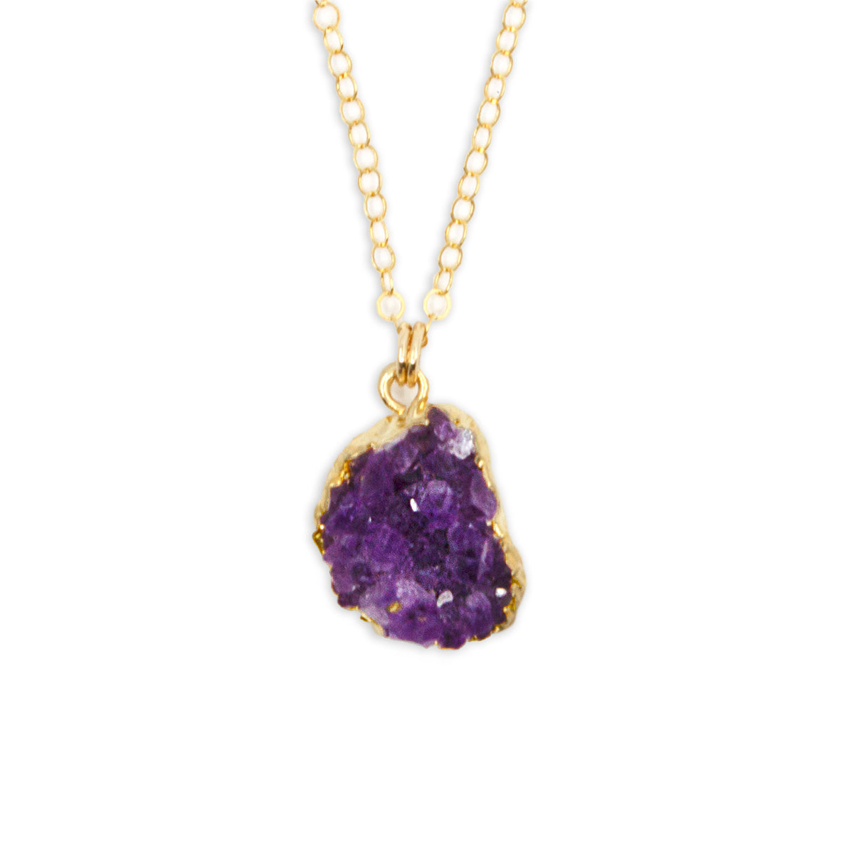 Amethyst Druzy Pendant Necklace, on Silver or Gold, Limited Edition