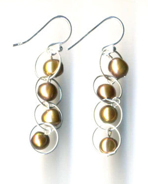 Pearly Orb Circle Earrings