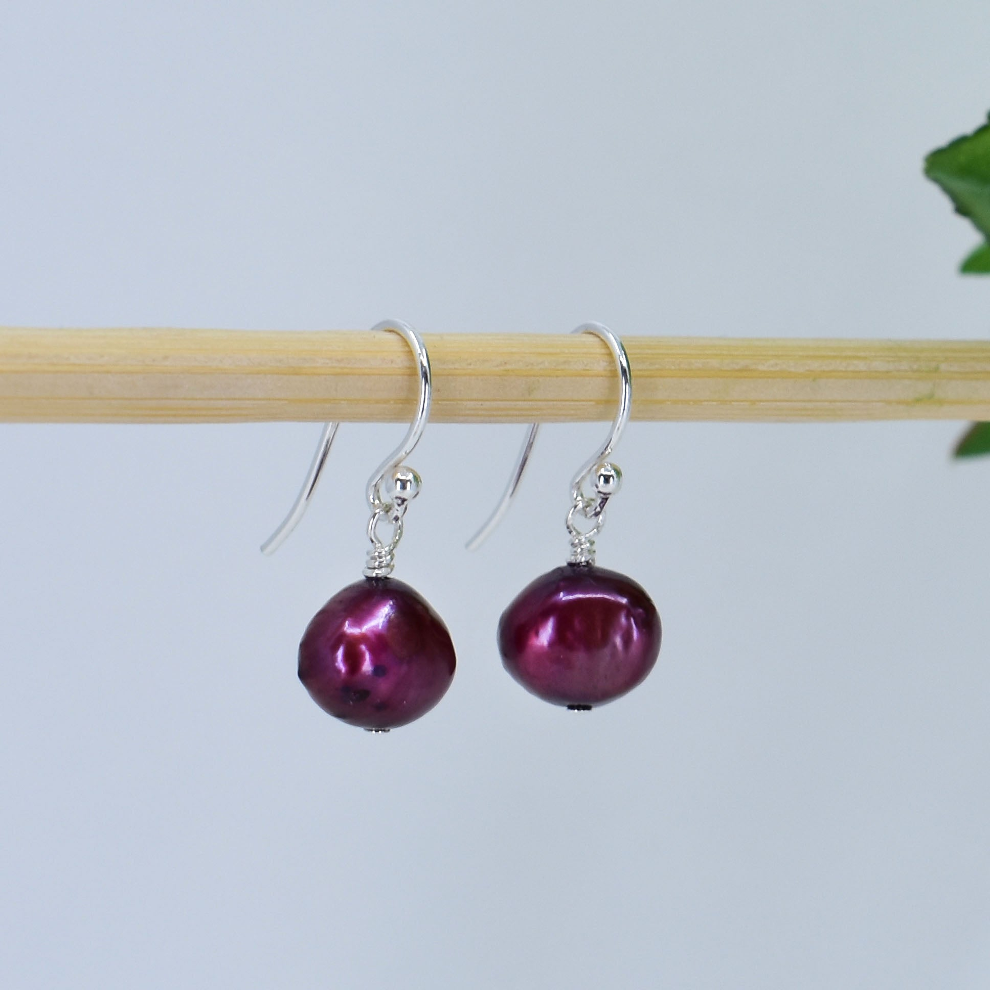 Classic Freshwater Pearl Earrings, Berry, Limited Edition
