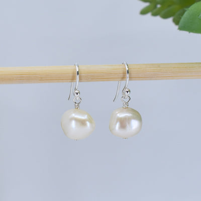 Classic Freshwater Pearl Earrings, Cream, Limited Edition