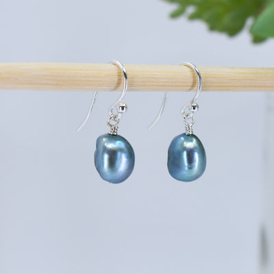 Classic Freshwater Pearl Earrings, Soft Teal, Limited Edition