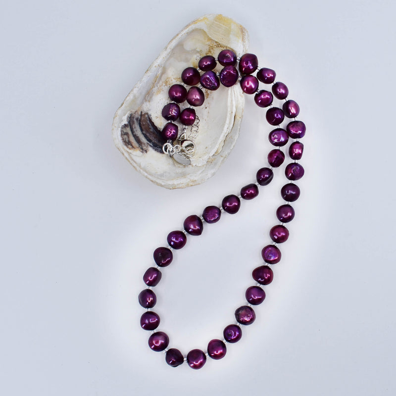 Classic Freshwater Pearl Necklace and Earring Set, Berry, Limited Edition