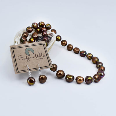 Classic Freshwater Pearl Necklace and Earring Set, Bronze, Limited Edition