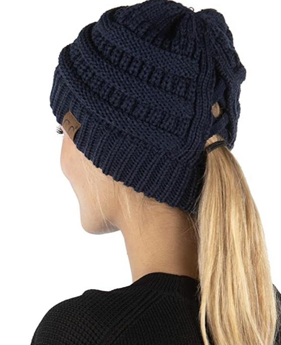 Ponytail Knit Winter Hat Navy Blue Hole for Bun in Beanie 4 ways to wear