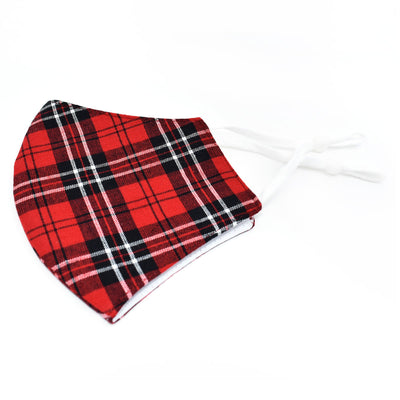Adjustable Cotton Face Mask, Adjustable Fit Red and Black Plaid