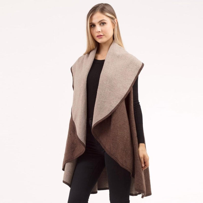 Reversible Cozy Vest Layer, Black or Brown