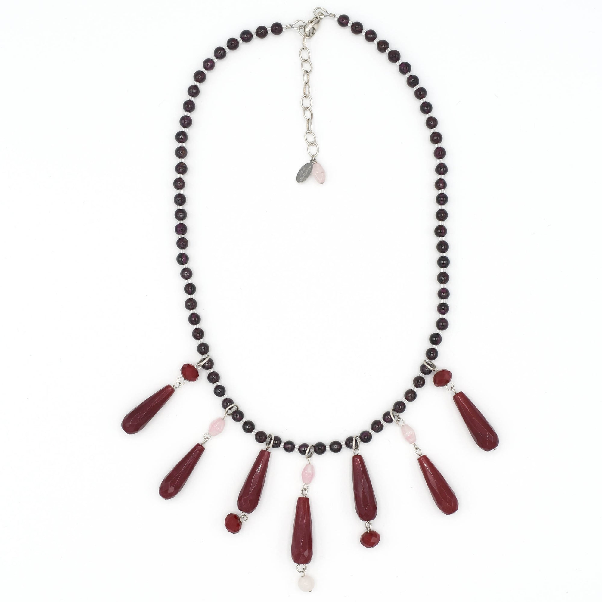 Garnet, Ruby Jade and Rose Quartz Chandelier Necklace