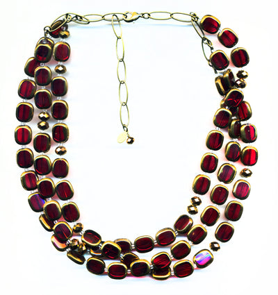 Bronze-Edged Glass 3-Strand Necklace