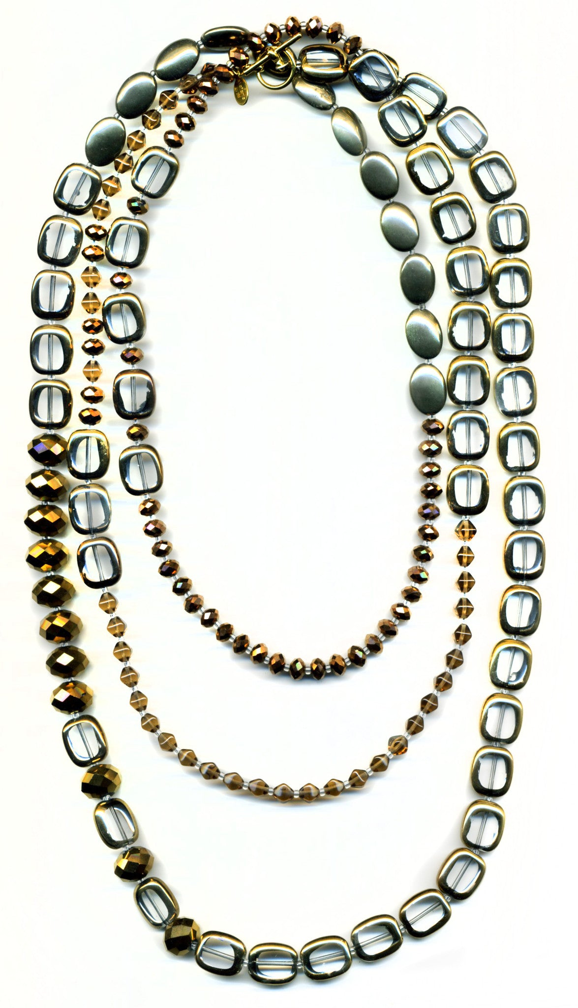 "Stained Glass 60"" Necklace, Crystal Clear, Bronze and Pyrite"