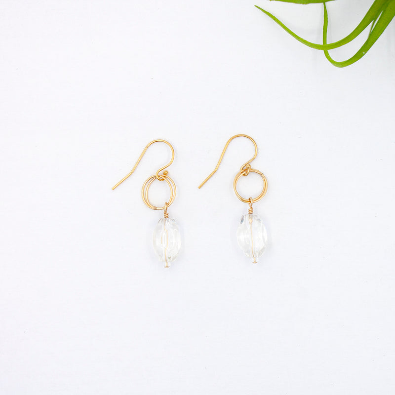 Circle Drop Earrings, Crystal Quartz with Gold, Sample Sale