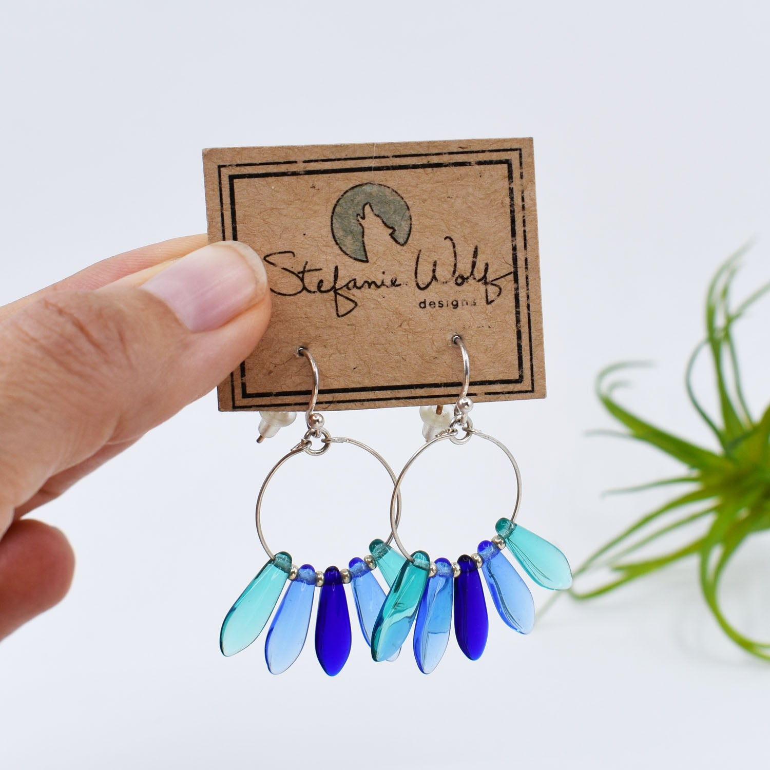Spike Hoop Earrings, Mix of Blues