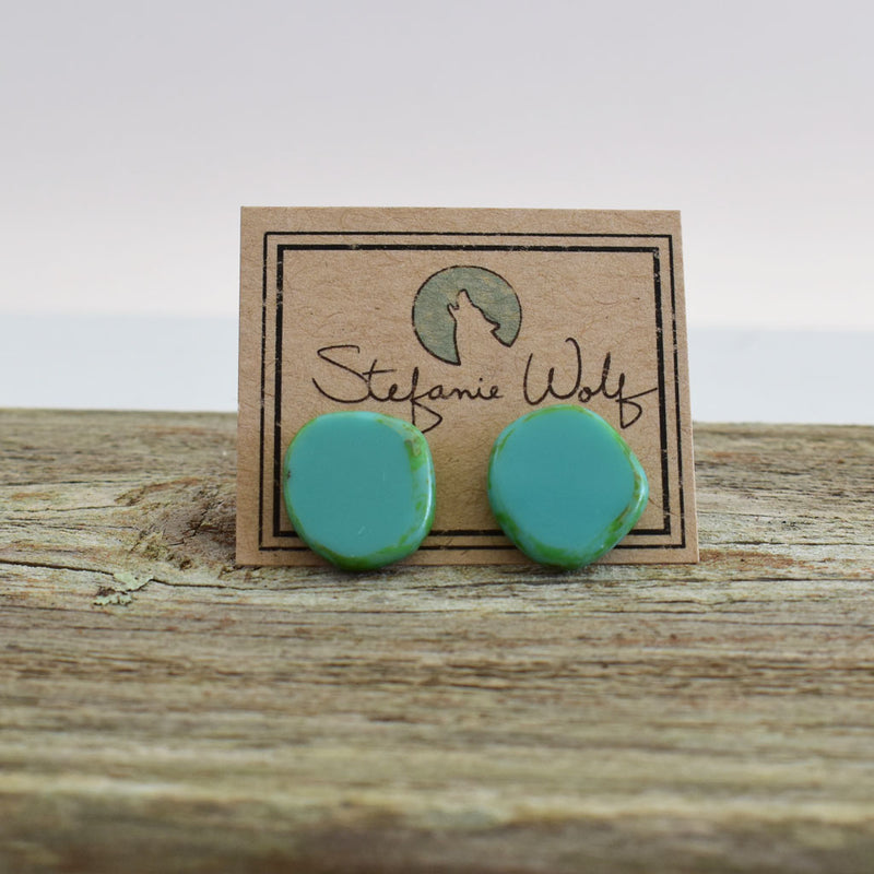 Circle Stud Earrings, Small, Turquoise Blue