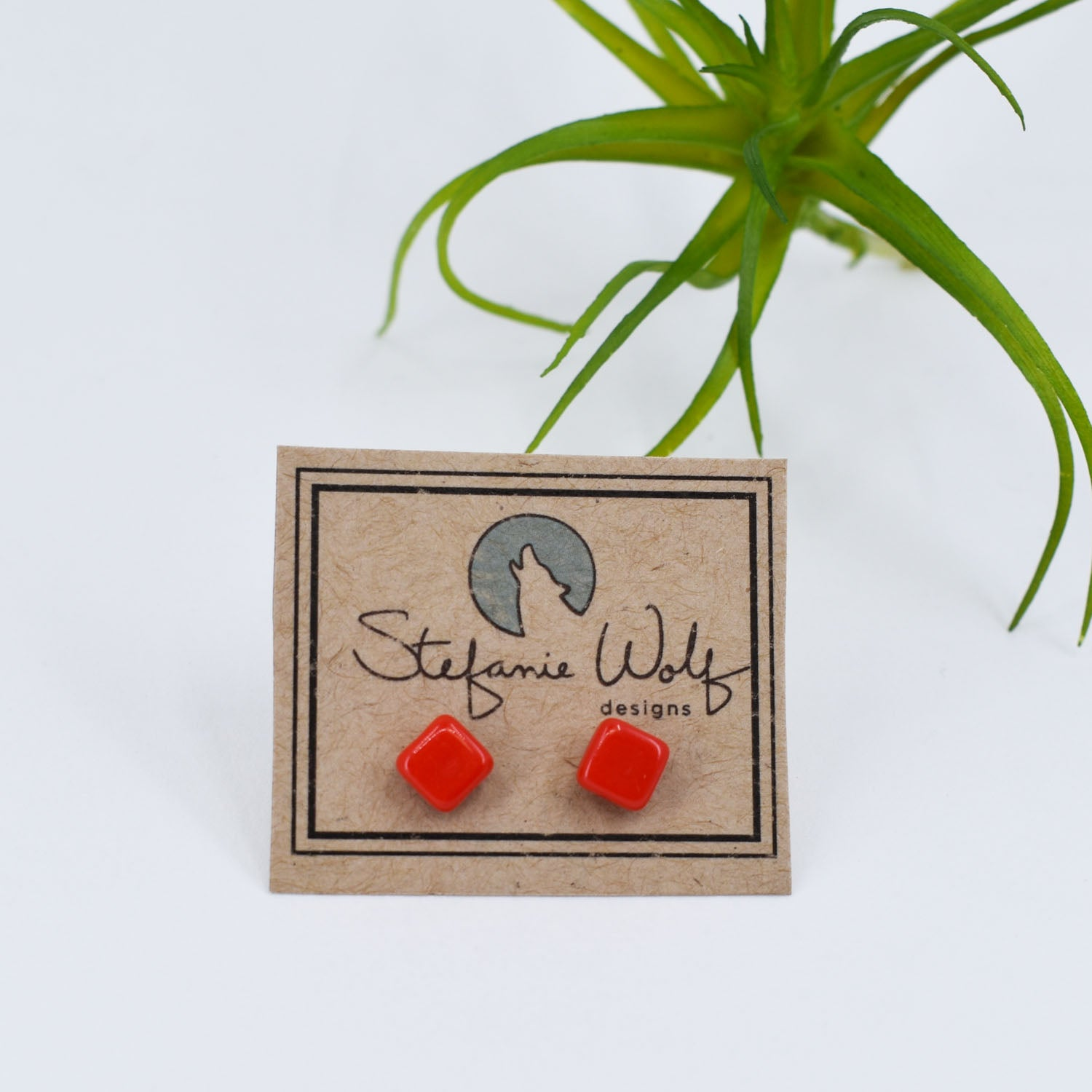 Tiny Stud Earrings in Bright Red
