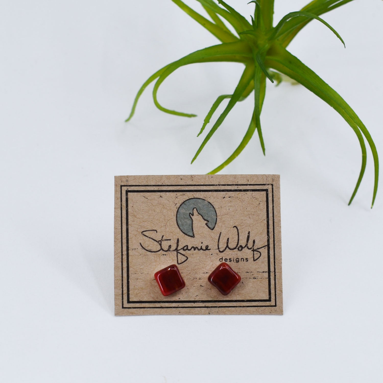 Tiny Stud Earrings in Dark Red