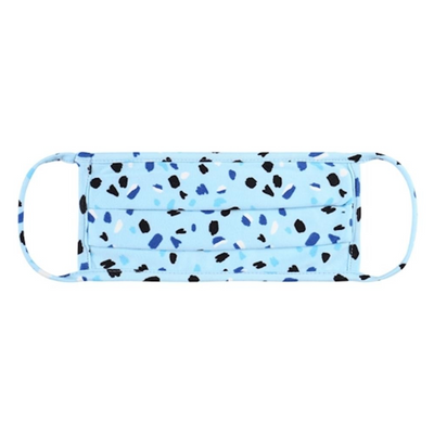 Face Mask, Blue Confetti Print, Pleated Design