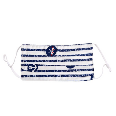 Pleated Face Mask, Nautical Stripe on White, Adult