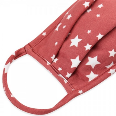 Kids Face Mask, Light Red Star Print