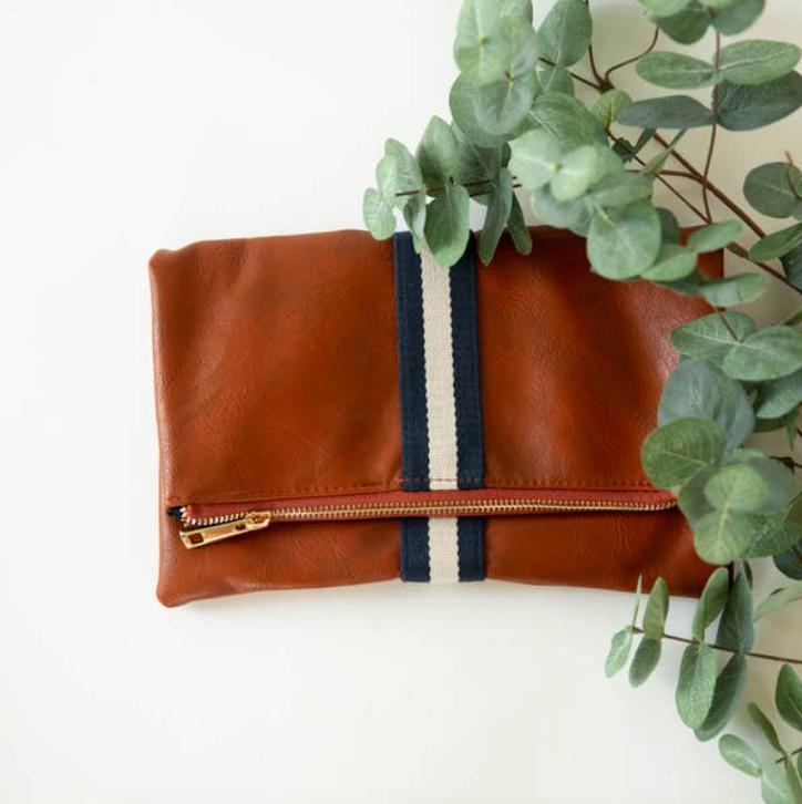 Foldover Clutch with Stripe Detail