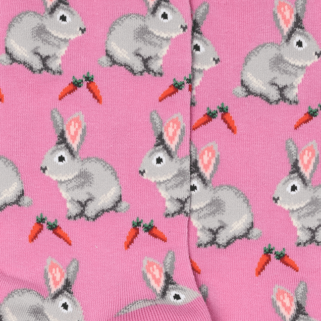 Socks with Bunnies and Carrots, Pink