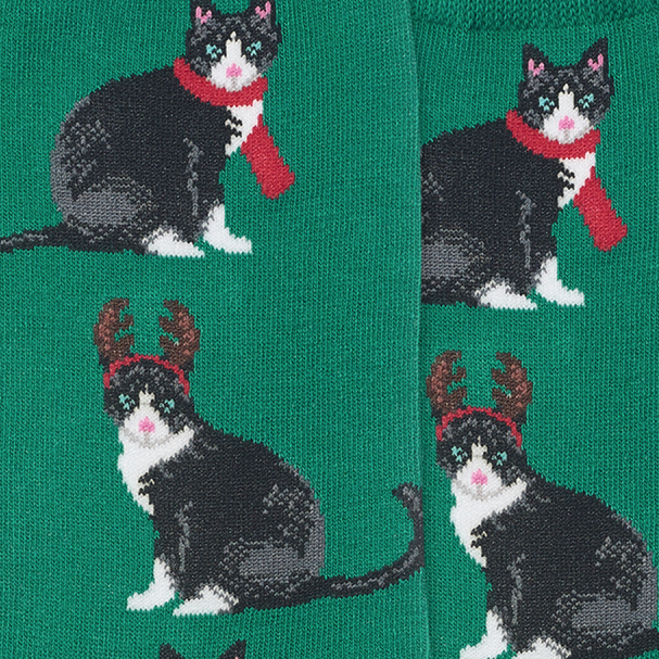 Socks with Reindeer Cats, Green