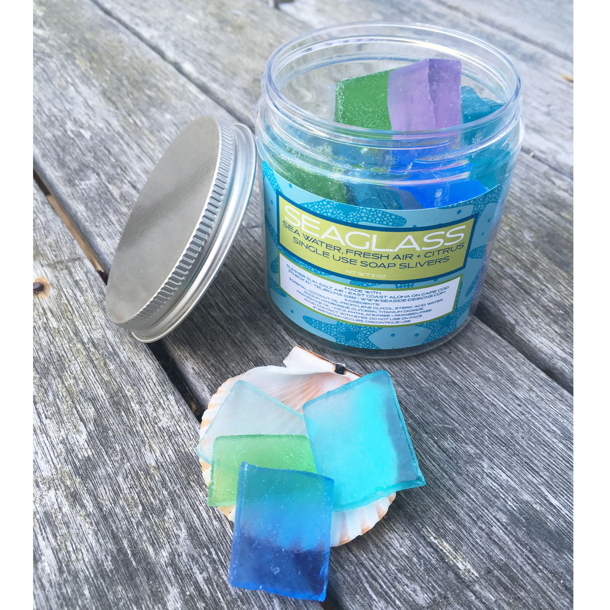 Seaglass Soap Jar, Handmade on Cape Cod, Massachussets