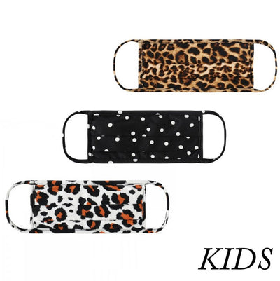 Set of 3 Kids Face Masks, Animal Print & Polka Dots